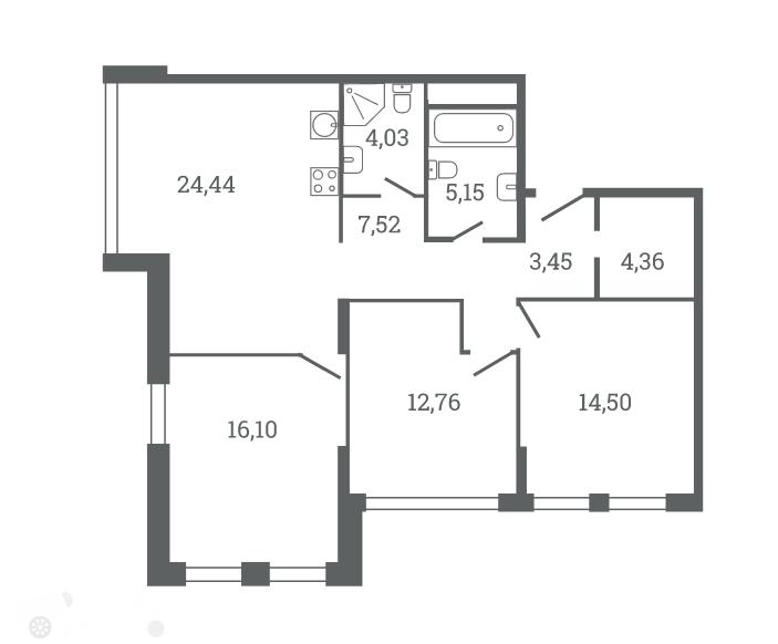 Продаётся 3-комнатная квартира в новостройке 92.0 кв.м. этаж 6/53 за 25 199 995 руб