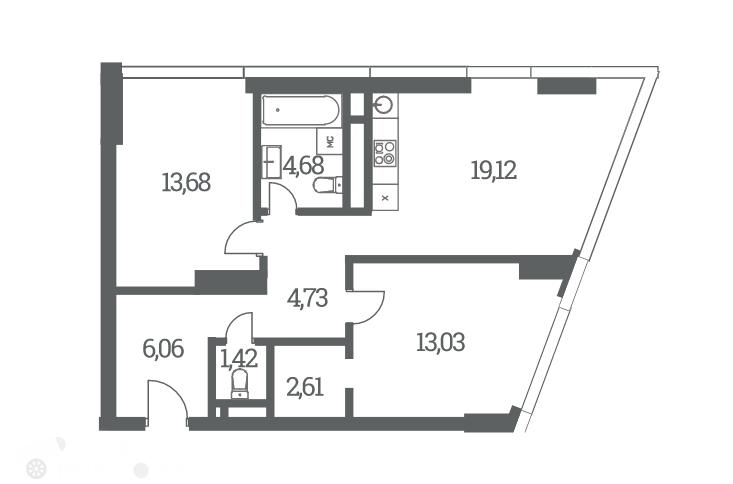 Продаётся 3-комнатная квартира в новостройке 67.0 кв.м. этаж 19/53 за 21 000 000 руб