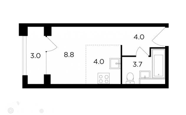 Продаётся 1-комнатная квартира в новостройке 23.0 кв.м. этаж 9/22 за 8 800 000 руб