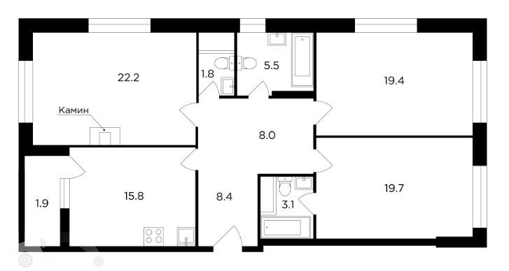 Продаётся 4-комнатная квартира в новостройке 106.0 кв.м. этаж 19/20 за 43 999 995 руб