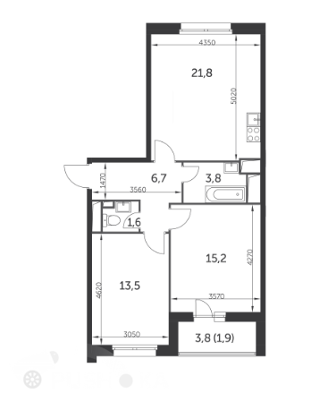 Продаётся 3-комнатная квартира в новостройке 65.0 кв.м. этаж 6/22 за 17 500 000 руб