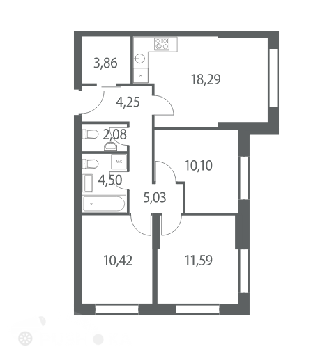Продаётся 3-комнатная квартира в новостройке 70.0 кв.м. этаж 8/53 за 20 000 000 руб