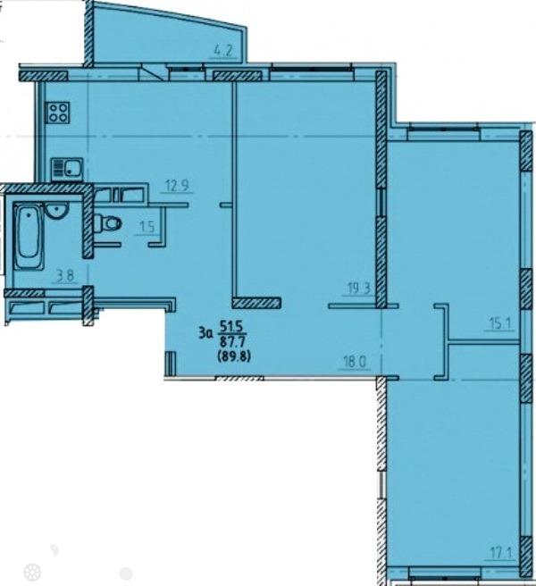 Продаётся 3-комнатная квартира в новостройке 90.0 кв.м. этаж 9/17 за 3 200 000 руб