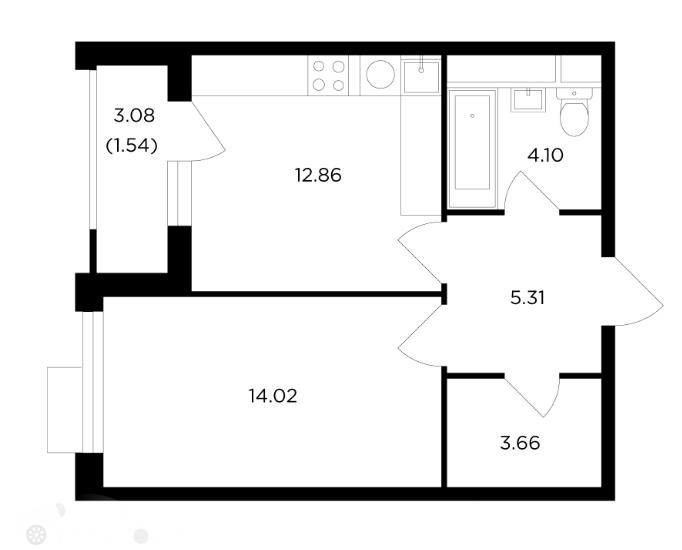 Продаётся 2-комнатная квартира в новостройке 42.0 кв.м. этаж 5/26 за 13 499 994 руб
