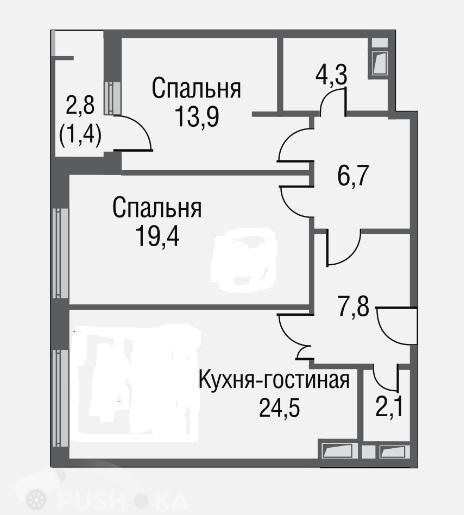 Продаётся 3-комнатная квартира в новостройке 78.0 кв.м. этаж 14/20 за 21 800 000 руб