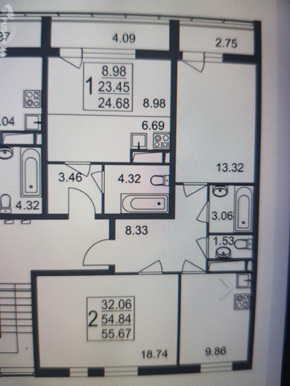 Продаётся 2-комнатная квартира 55.3 кв.м. этаж 6/8 за 6 400 000 руб