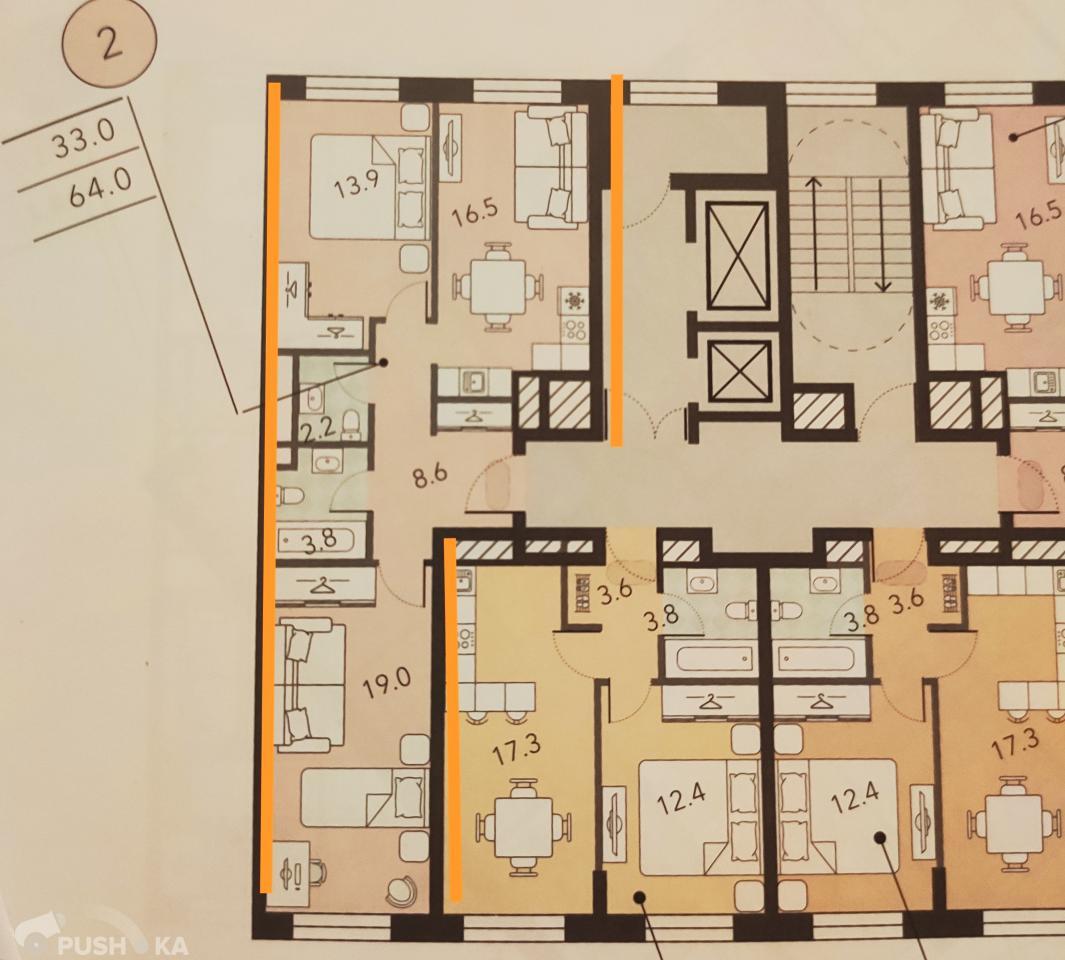Продаётся 2-комнатная квартира в новостройке 64.0 кв.м. этаж 4/7 за 21 000 000 руб