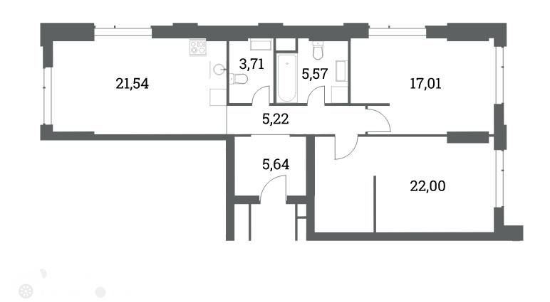 Продаётся 3-комнатная квартира в новостройке 82.0 кв.м. этаж 7/53 за 21 100 000 руб