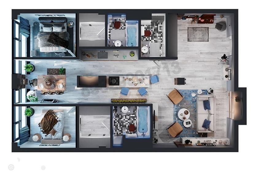 Продаётся 3-комнатная квартира 117.0 кв.м. этаж 3/6 за 35 999 994 руб