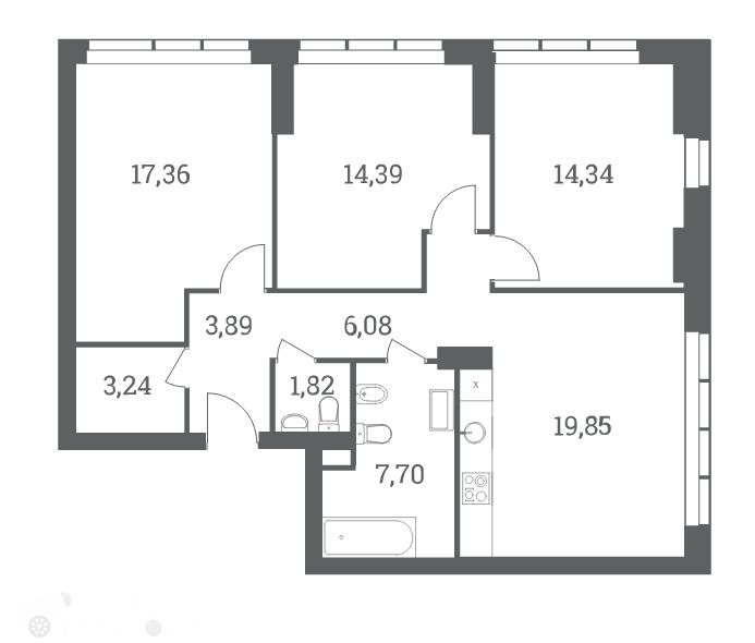 Продаётся 3-комнатная квартира в новостройке 88.0 кв.м. этаж 12/53 за 22 400 000 руб