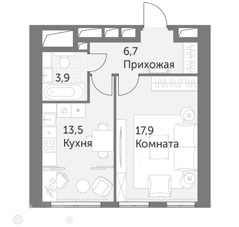 Продаётся 1-комнатная квартира в новостройке 42.0 кв.м. этаж 23/47 за 17 200 000 руб