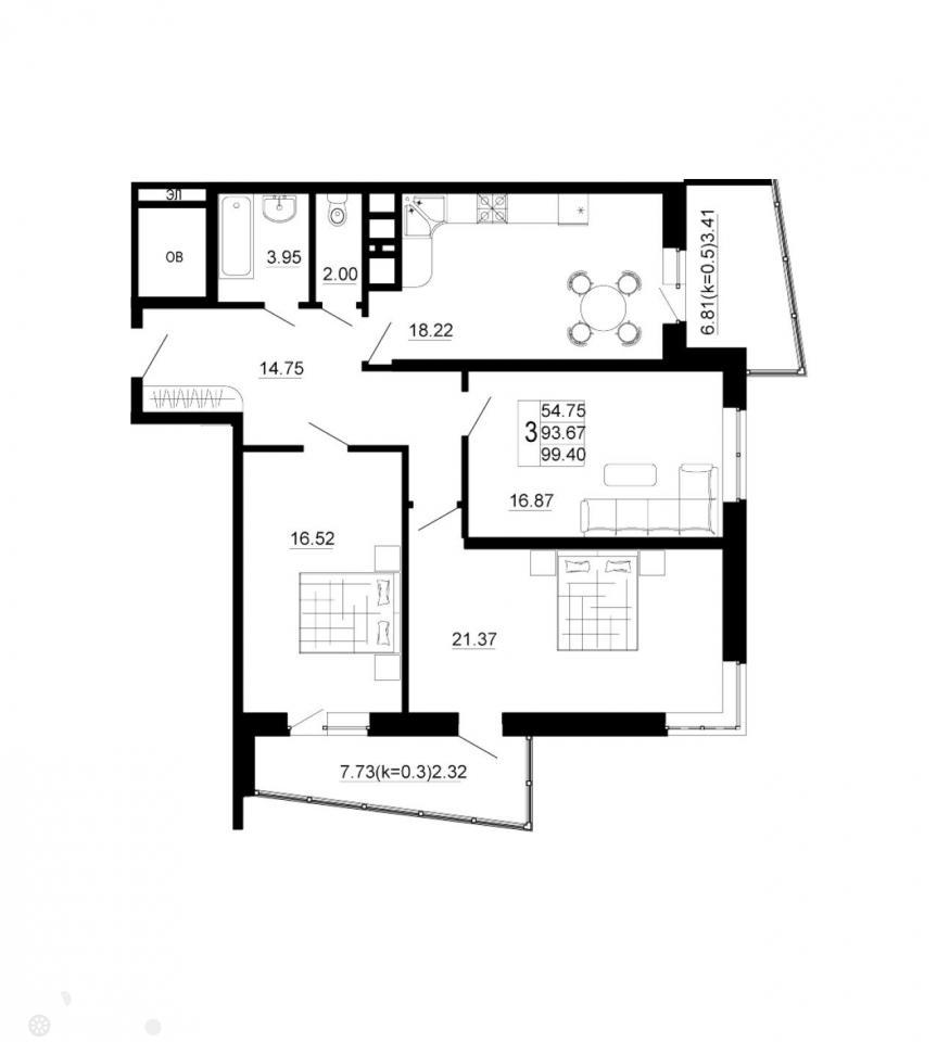 Продаётся 3-комнатная квартира в новостройке 99.0 кв.м. этаж 7/24 за 6 500 000 руб
