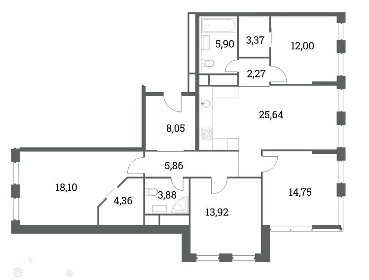 Продаётся 4-комнатная квартира в новостройке 121.0 кв.м. этаж 21/53 за 38 299 996 руб