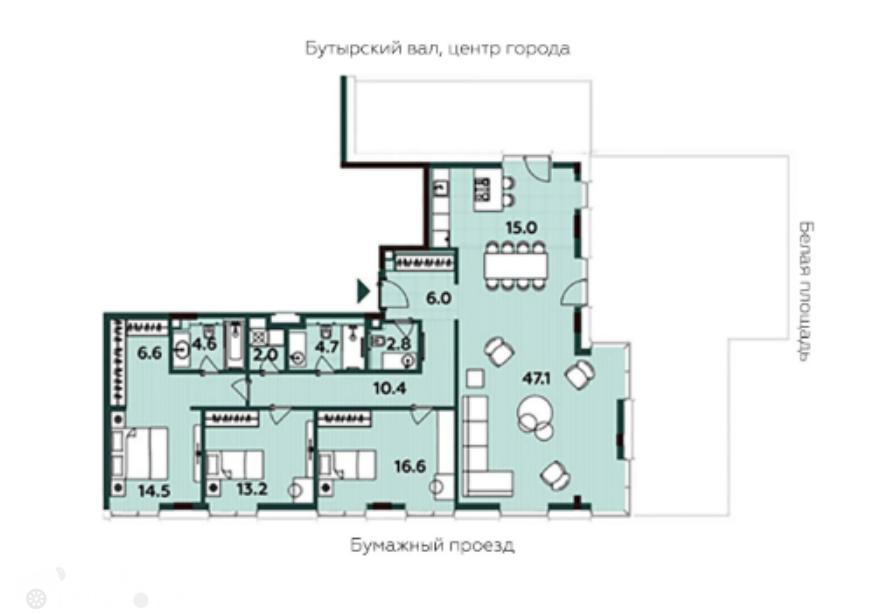 Продаётся 3-комнатная квартира в новостройке 144.0 кв.м. этаж 18/20 за 61 800 000 руб