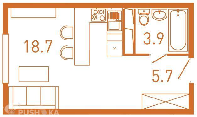 Продаётся  квартира-студия 25.4 кв.м. этаж 23/25 за 5 100 000 руб