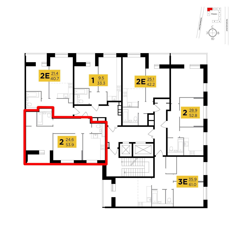 Продаётся 2-комнатная квартира в новостройке 53.9 кв.м. этаж 10/16 за 5 381 124 руб