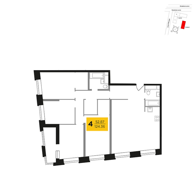 Продаётся 4-комнатная квартира в новостройке 125.0 кв.м. этаж 7/27 за 24 920 485 руб