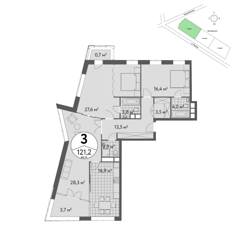 Продаётся 3-комнатная квартира в новостройке 121.6 кв.м. этаж 4/13 за 38 325 888 руб