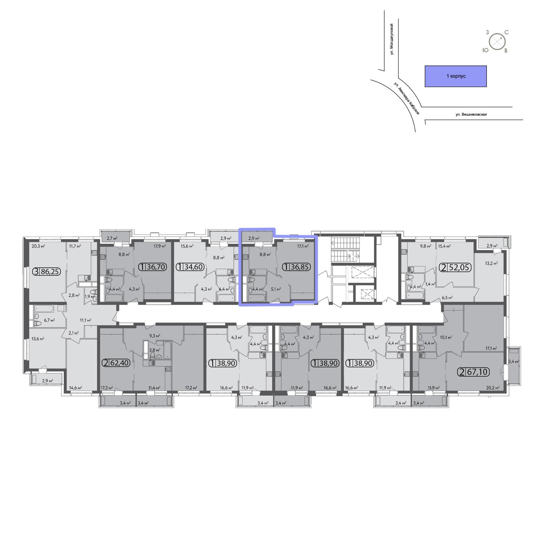 Продаётся 1-комнатная квартира в новостройке 38.5 кв.м. этаж 2/13 за 7 904 000 руб