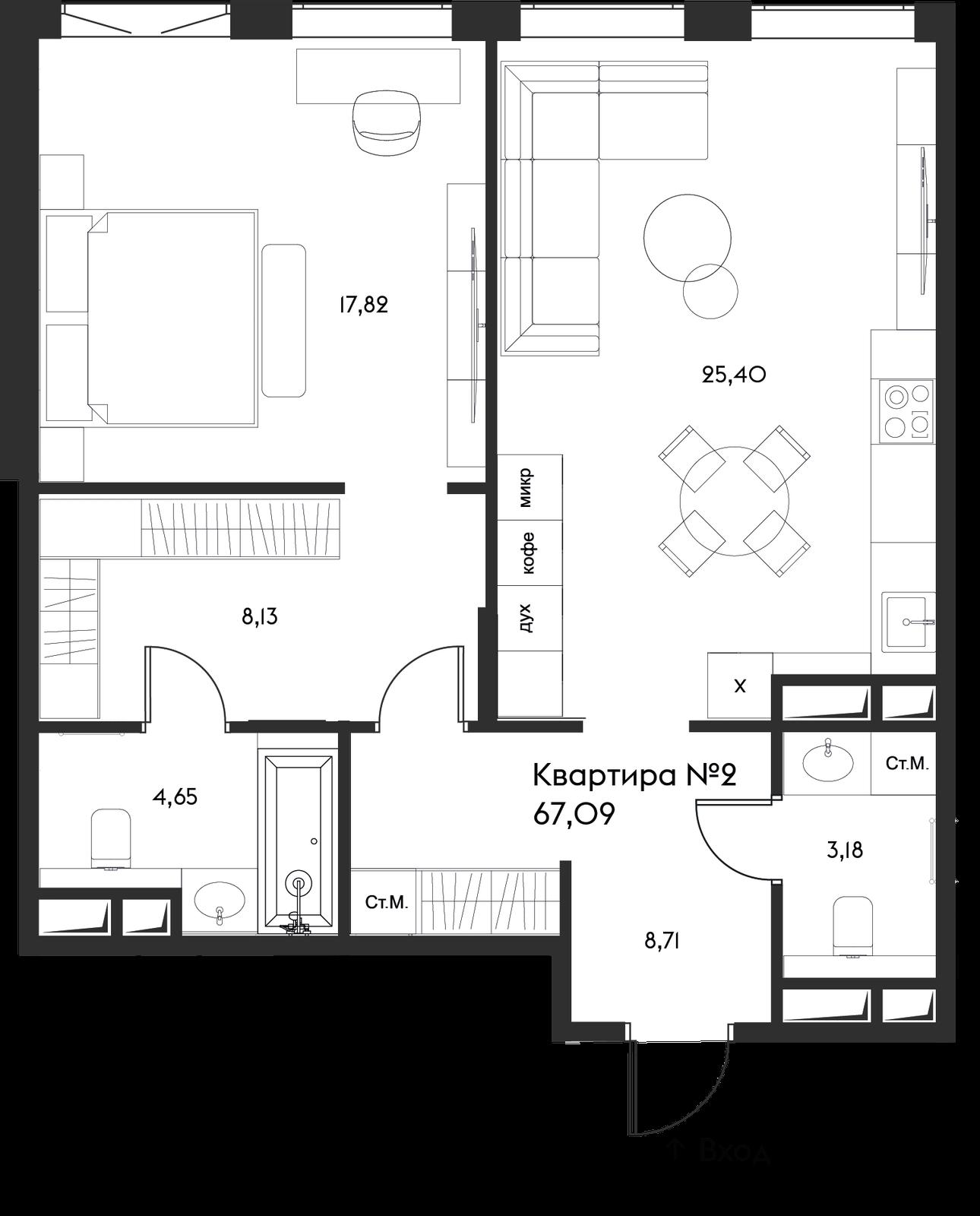 Продаётся 1-комнатная квартира в новостройке 67.1 кв.м. этаж 3/17 за 37 412 748 руб