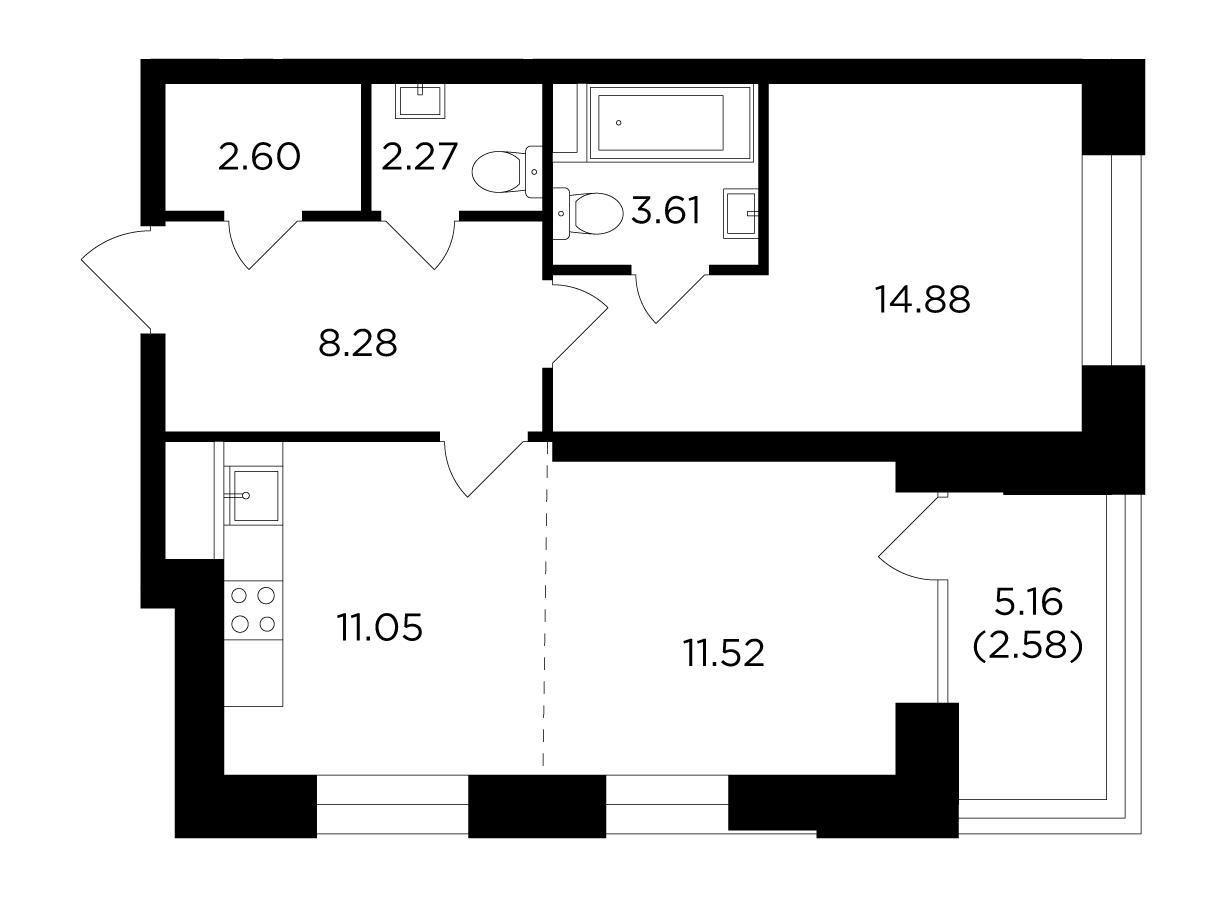 Продаётся 2-комнатная квартира в новостройке 56.8 кв.м. этаж 5/19 за 25 900 198 руб
