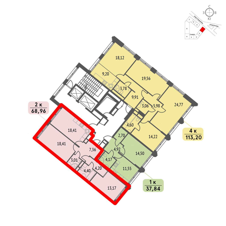 Продаётся 2-комнатная квартира в новостройке 69.0 кв.м. этаж 8/32 за 17 377 920 руб
