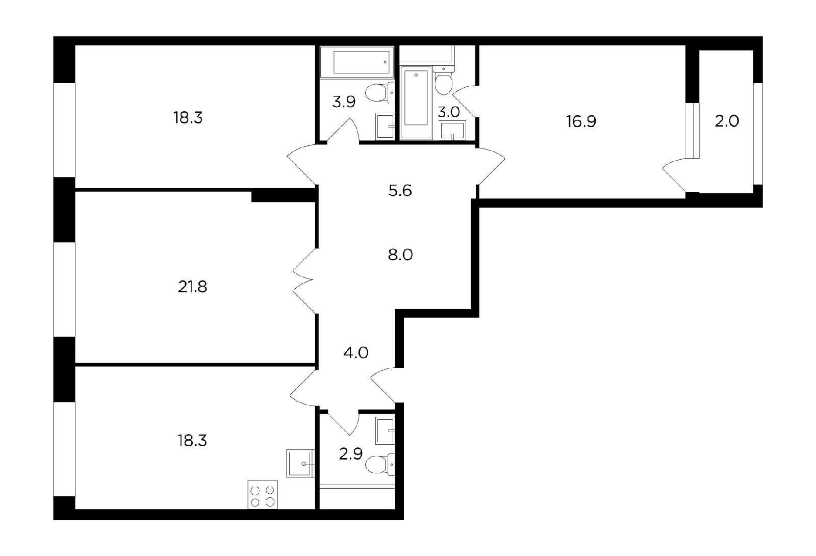 Продаётся 3-комнатная квартира в новостройке 104.7 кв.м. этаж 19/20 за 35 594 860 руб