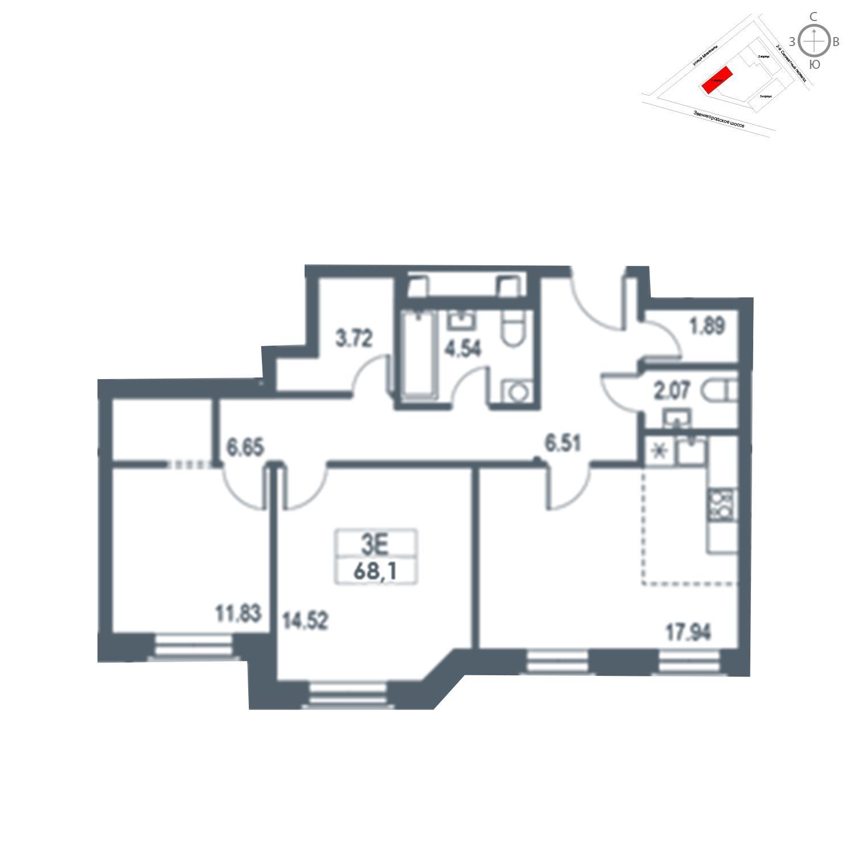 Продаётся 3-комнатная квартира в новостройке 68.1 кв.м. этаж 10/21 за 16 010 310 руб