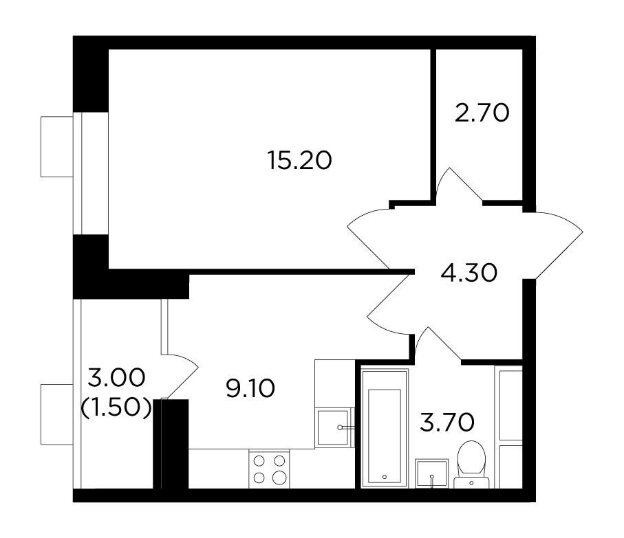 Продаётся 1-комнатная квартира в новостройке 36.5 кв.м. этаж 14/15 за 5 396 993 руб