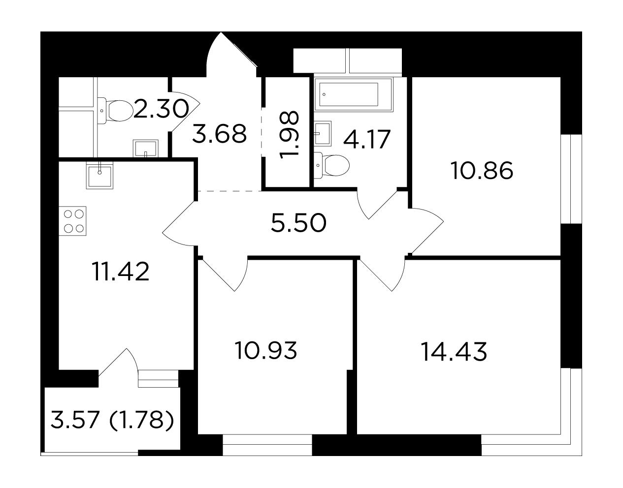Продаётся 3-комнатная квартира в новостройке 67.1 кв.м. этаж 13/24 за 11 087 538 руб