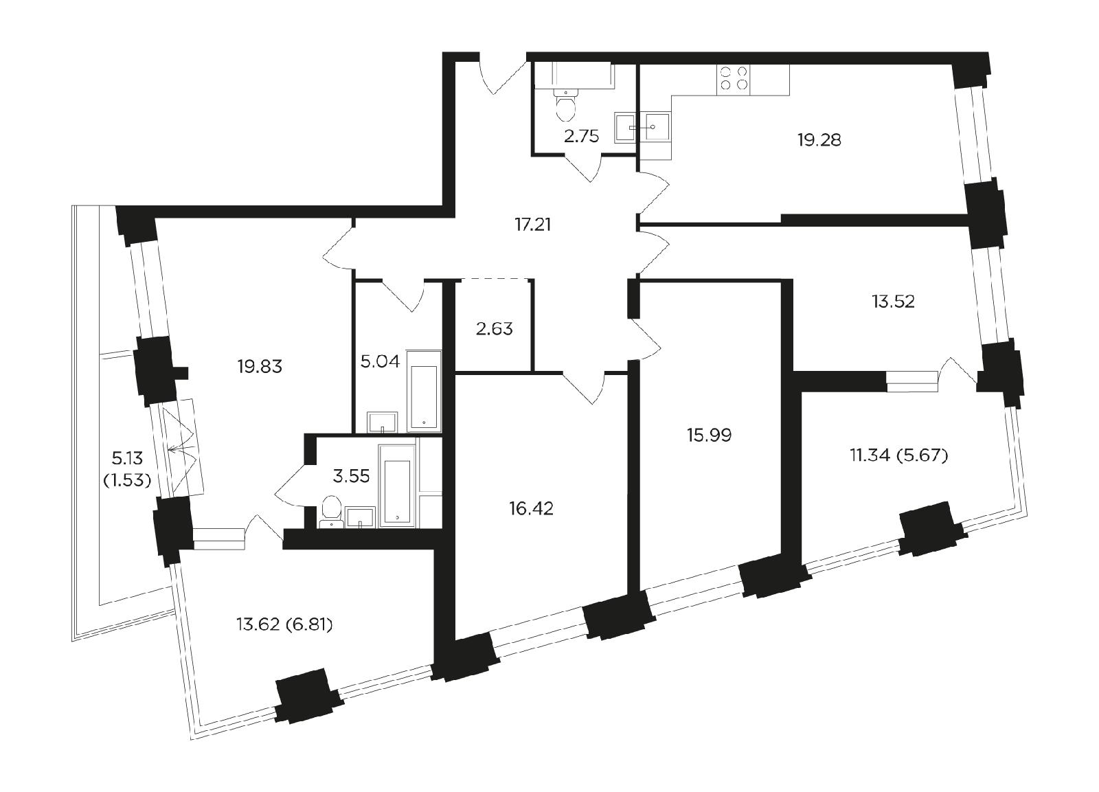 Продаётся 4-комнатная квартира в новостройке 130.2 кв.м. этаж 21/27 за 40 734 398 руб