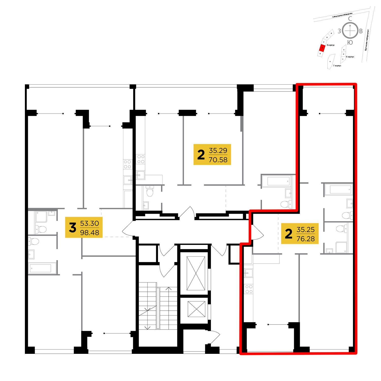 Продаётся 2-комнатная квартира в новостройке 76.3 кв.м. этаж 9/16 за 29 960 994 руб