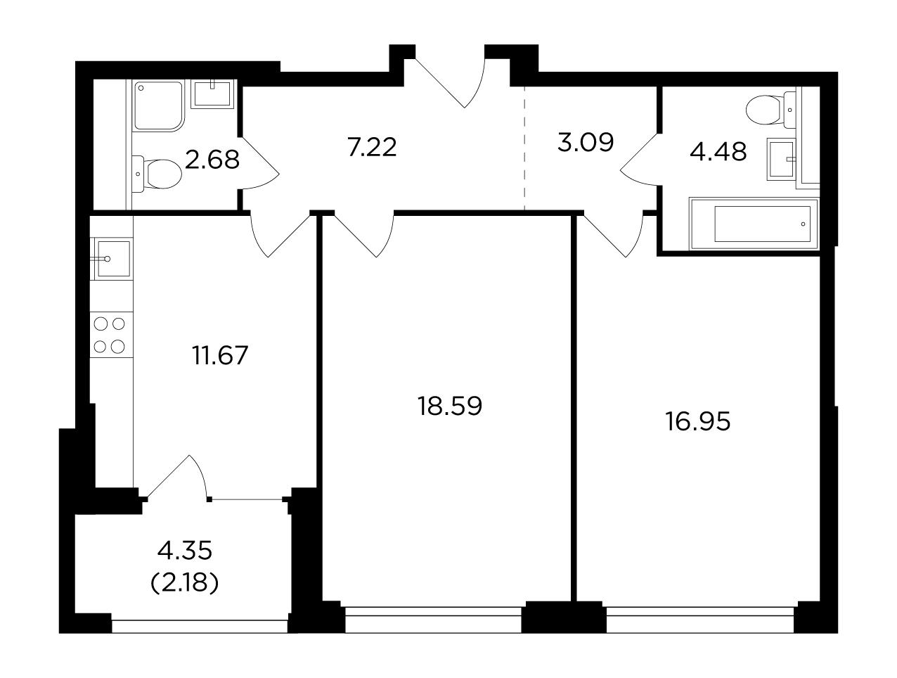 Продаётся 2-комнатная квартира в новостройке 66.4 кв.м. этаж 9/21 за 28 043 538 руб