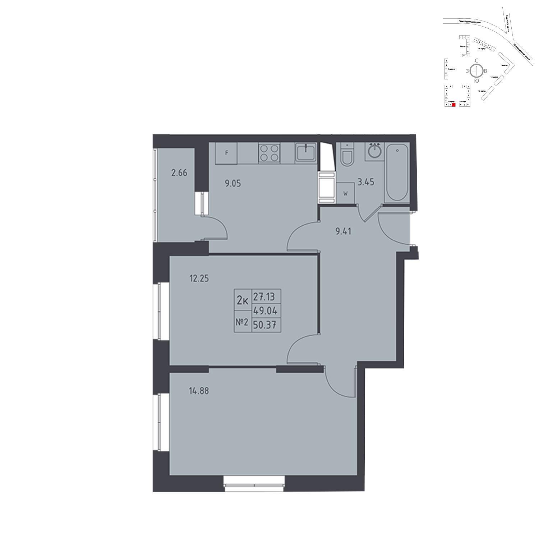 Продаётся 2-комнатная квартира в новостройке 50.4 кв.м. этаж 17/17 за 4 906 095 руб