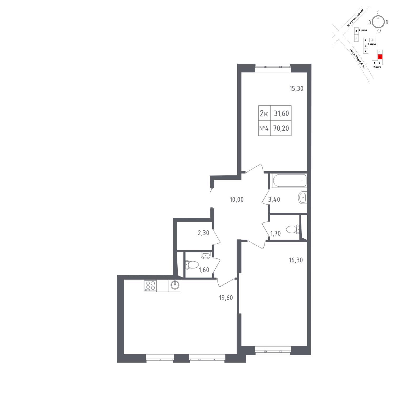 Продаётся 2-комнатная квартира в новостройке 70.2 кв.м. этаж 2/23 за 11 369 655 руб