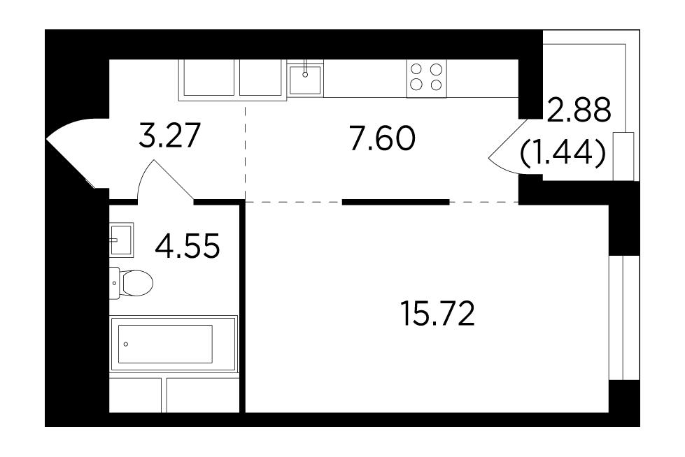 Продаётся  квартира-студия 32.5 кв.м. этаж 24/25 за 7 355 243 руб