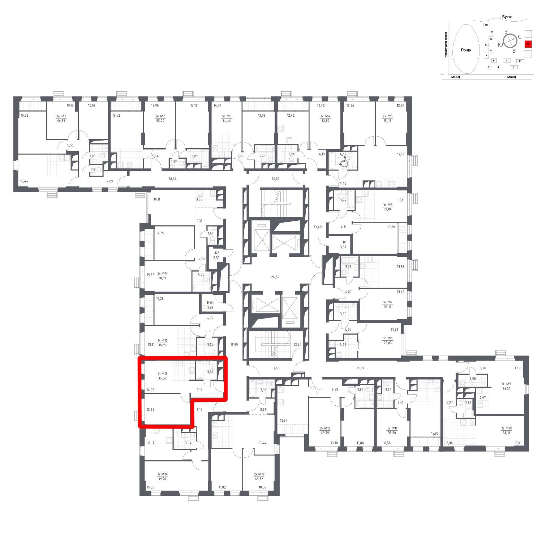 Продаётся 1-комнатная квартира в новостройке 35.4 кв.м. этаж 16/31 за 5 797 661 руб