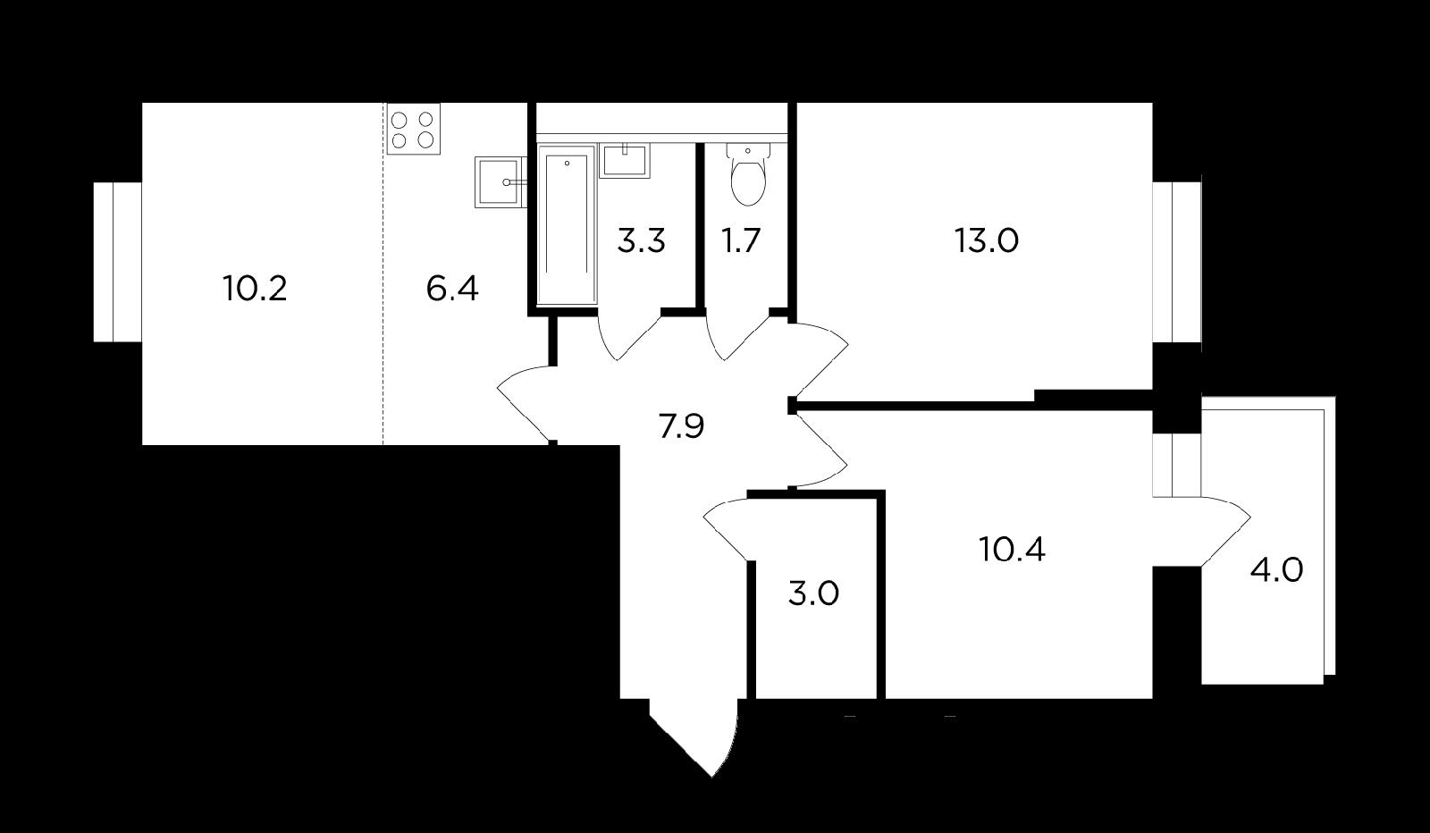 Продаётся 3-комнатная квартира в новостройке 57.9 кв.м. этаж 8/14 за 7 393 367 руб