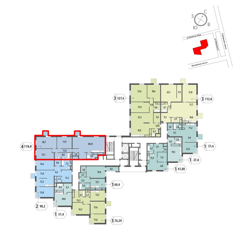 Продаётся 4-комнатная квартира в новостройке 119.9 кв.м. этаж 8/12 за 26 316 237 руб