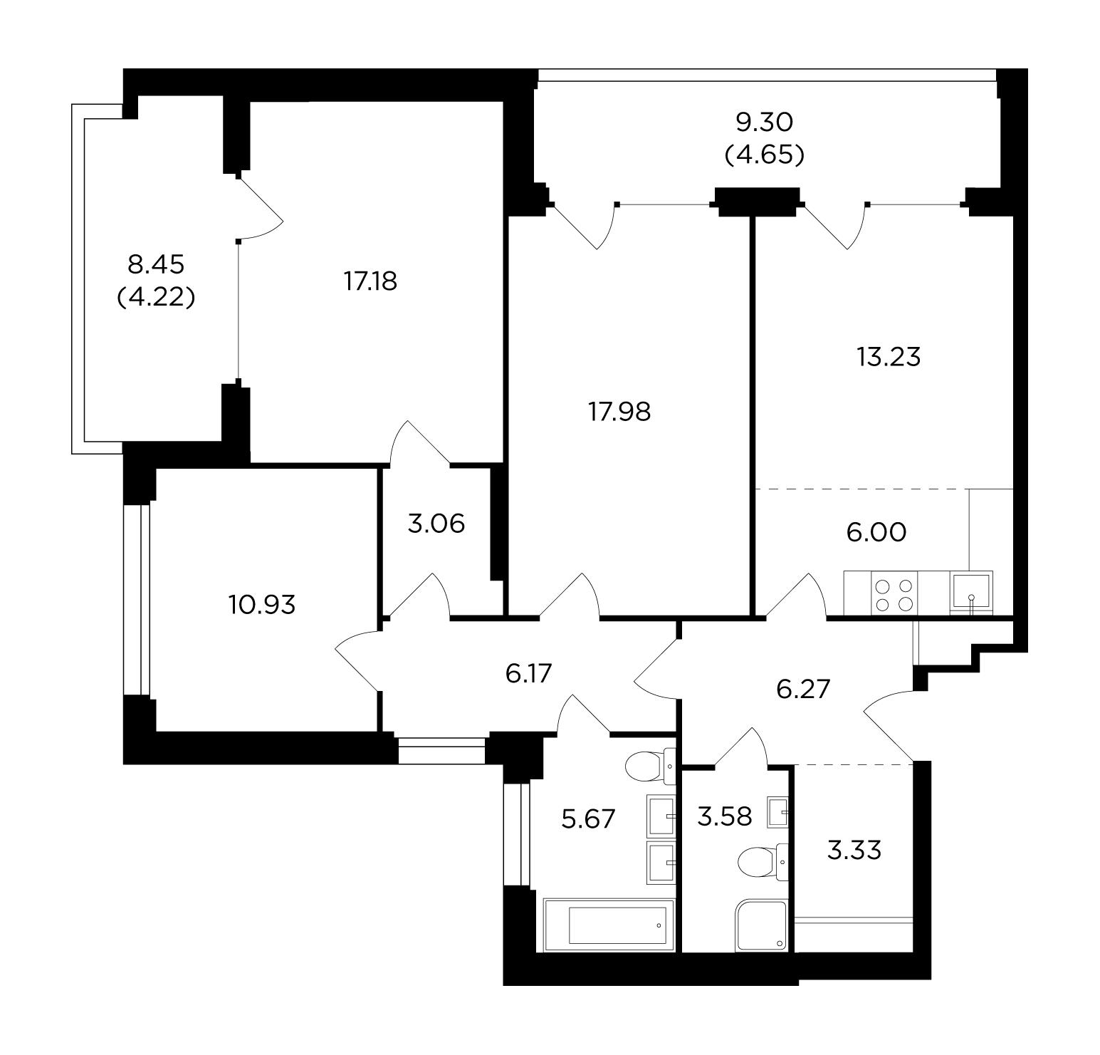 Продаётся 4-комнатная квартира в новостройке 102.3 кв.м. этаж 15/21 за 34 755 802 руб