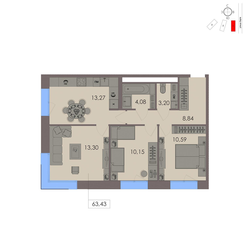 Продаётся 3-комнатная квартира в новостройке 63.4 кв.м. этаж 11/21 за 18 966 000 руб
