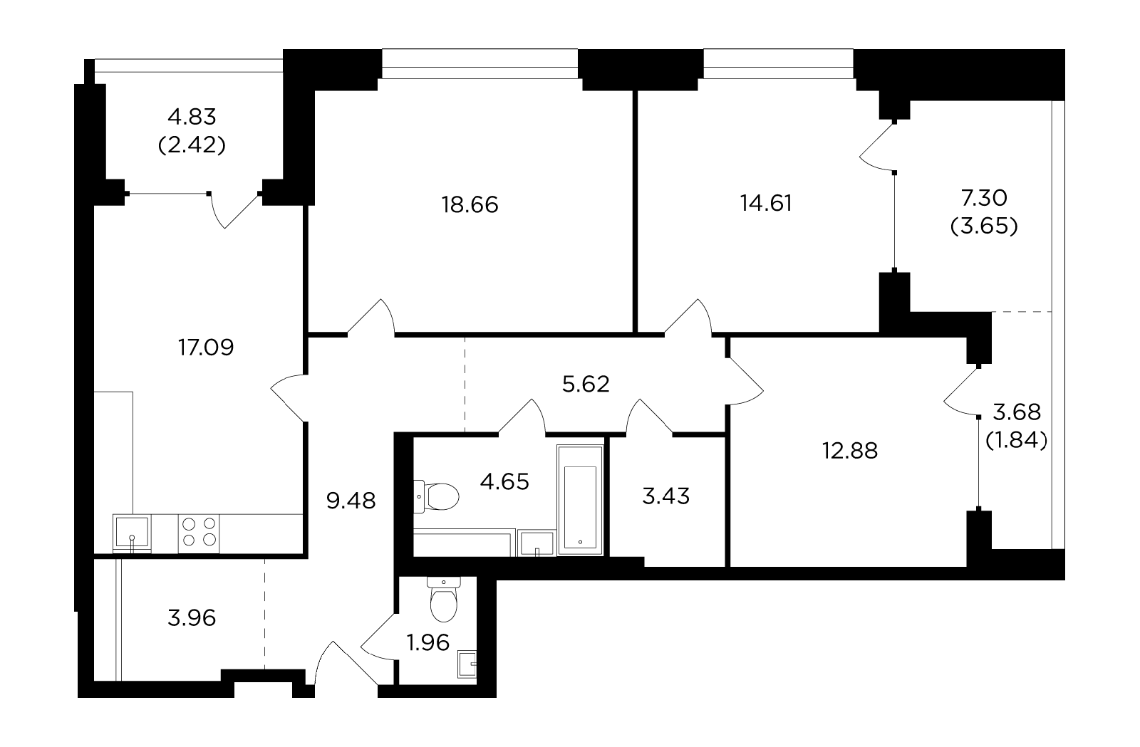 Продаётся 3-комнатная квартира в новостройке 100.3 кв.м. этаж 10/29 за 41 153 627 руб