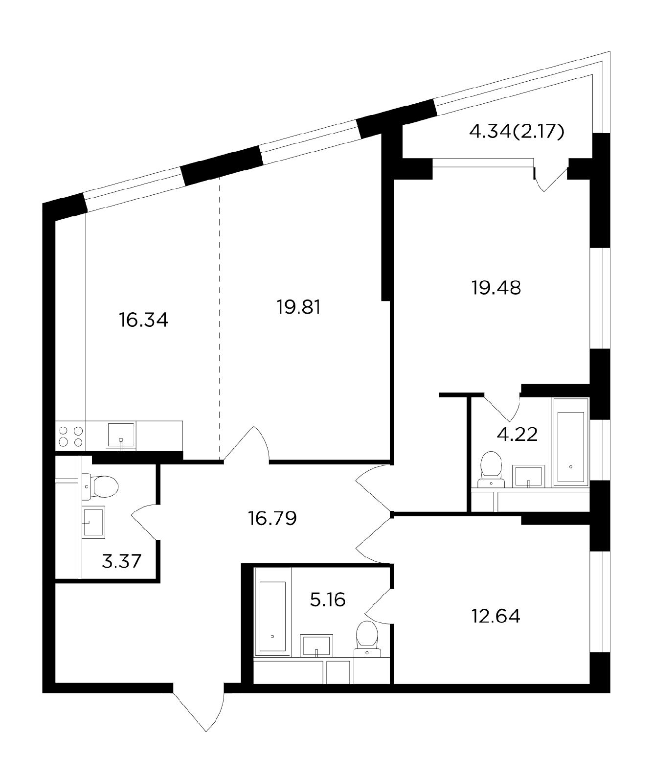 Продаётся 3-комнатная квартира в новостройке 100.0 кв.м. этаж 4/29 за 27 313 400 руб