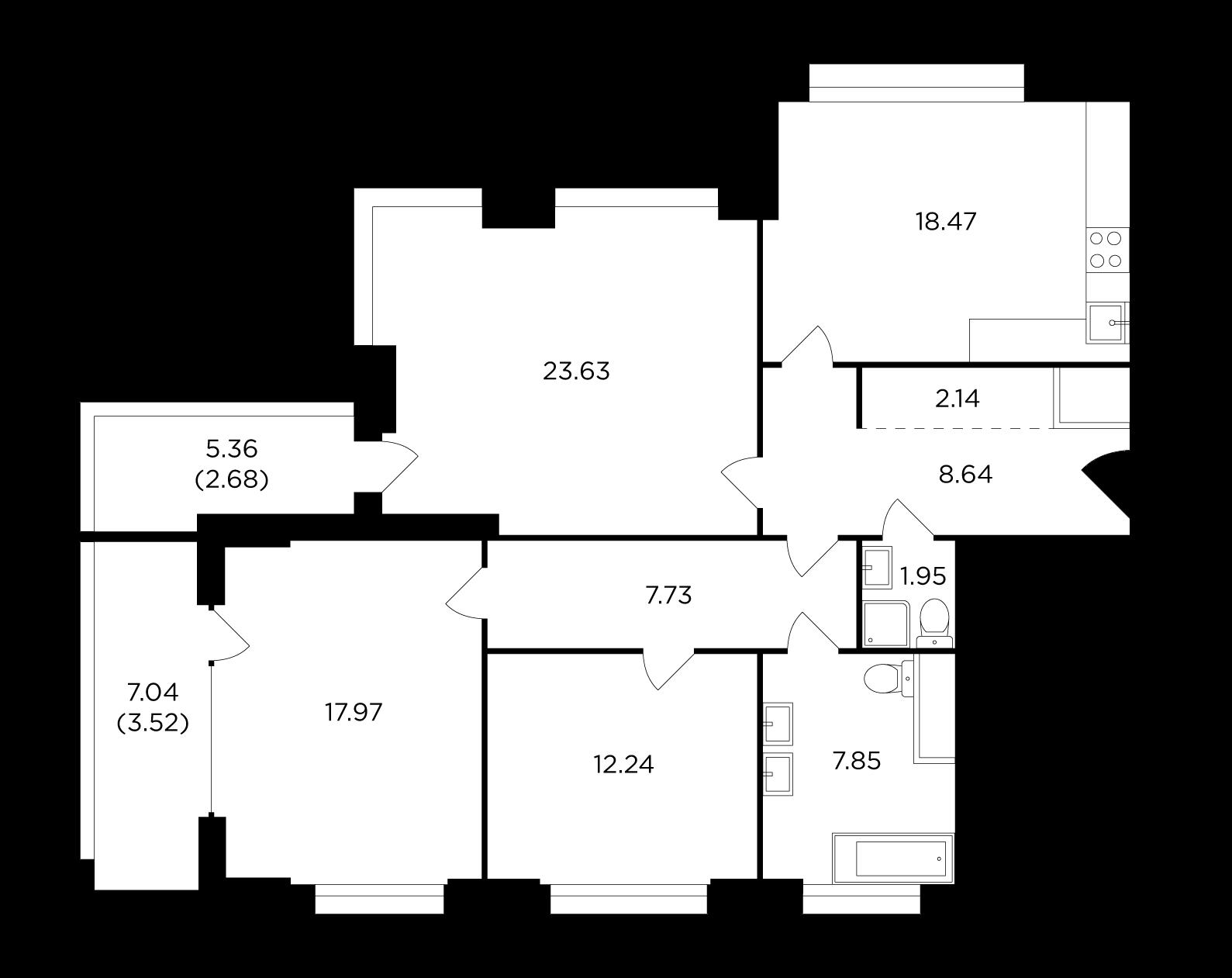 Продаётся 3-комнатная квартира в новостройке 106.8 кв.м. этаж 7/29 за 30 442 418 руб