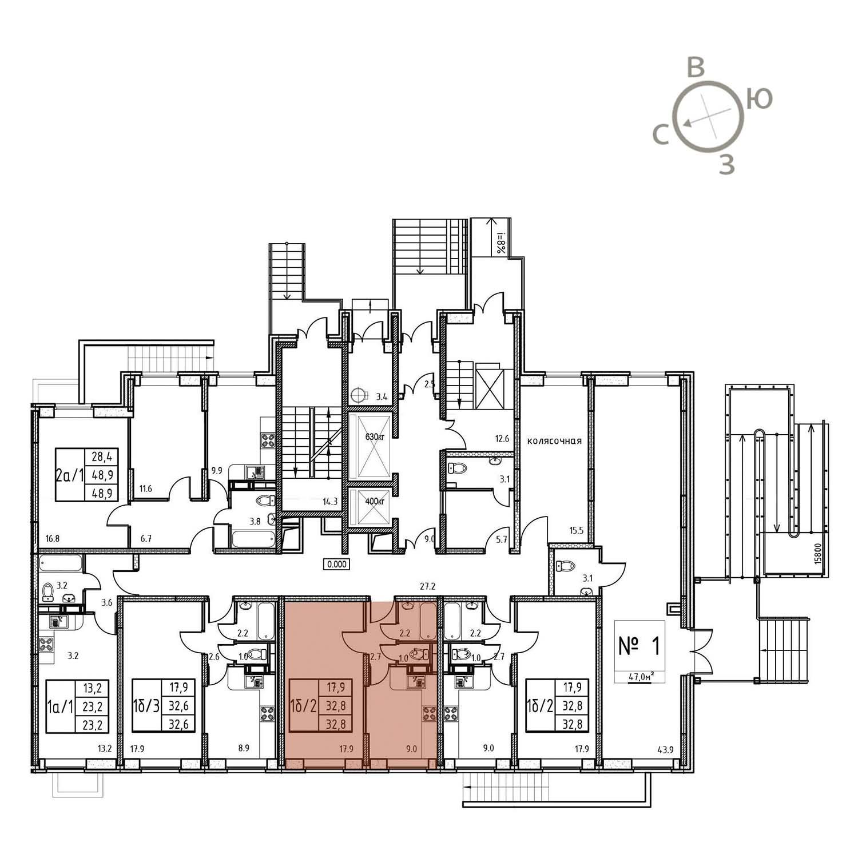 Продаётся 1-комнатная квартира в новостройке 32.8 кв.м. этаж 1/13 за 1 984 400 руб