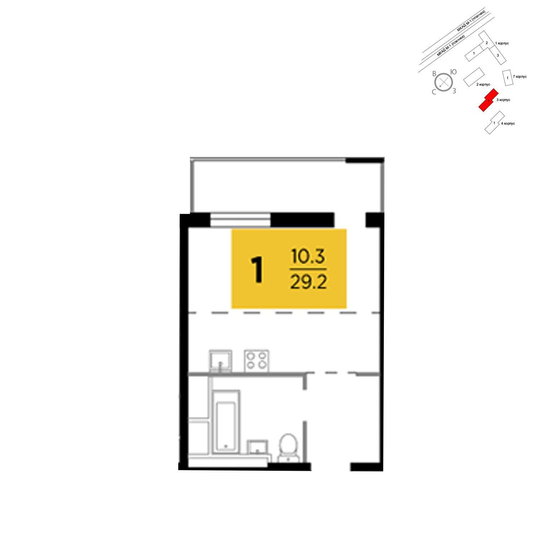 Продаётся 1-комнатная квартира в новостройке 29.2 кв.м. этаж 19/24 за 2 964 780 руб