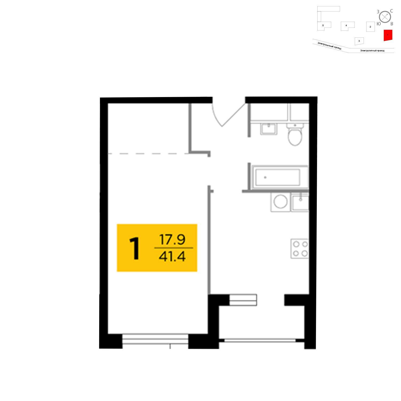 Продаётся 1-комнатная квартира в новостройке 41.9 кв.м. этаж 8/26 за 14 598 488 руб