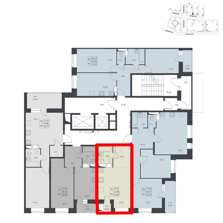 Продаётся  квартира-студия 27.0 кв.м. этаж 16/17 за 3 598 236 руб