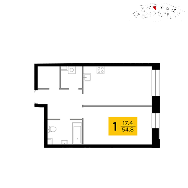 Продаётся 1-комнатная квартира в новостройке 54.8 кв.м. этаж 4/19 за 21 934 164 руб