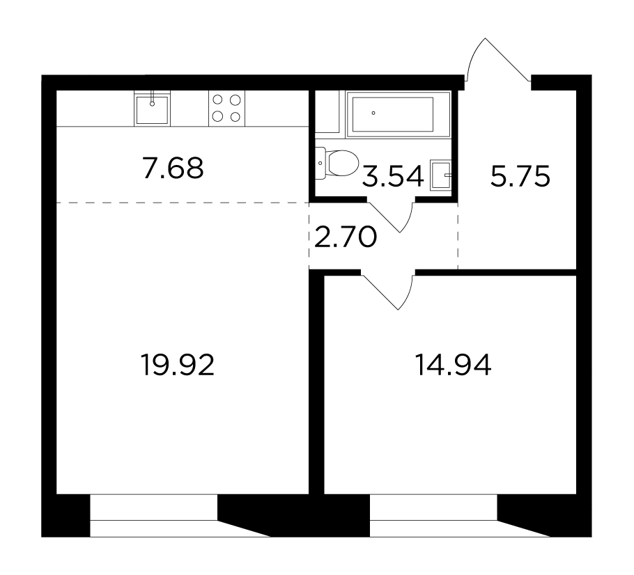 Продаётся 2-комнатная квартира в новостройке 54.5 кв.м. этаж 6/16 за 22 887 604 руб